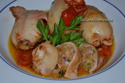 фаршированные кальмары запеченные в духовке