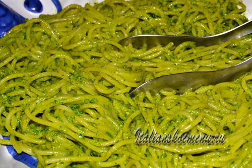 Спагетти с песто из руколы и кешью, пошаговый рецепт с фото