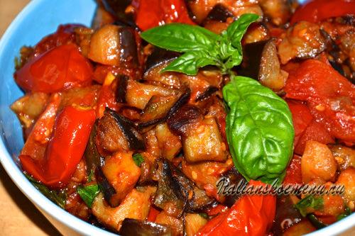 баклажаны с помидорами закуска или гарнир